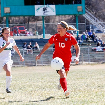 Ellese Lupori moves the ball down the field against Delta. Photo by Casey Barnett