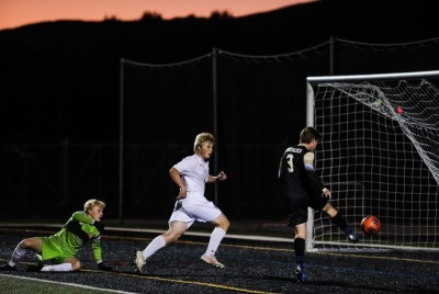 Battle Mountain's Trevino Twiss scores a goal against Steamboat