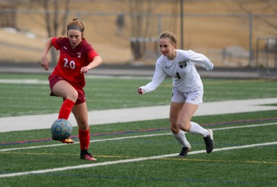 Steamboat's Grace Drobek takes on a Battle Mountain Defender