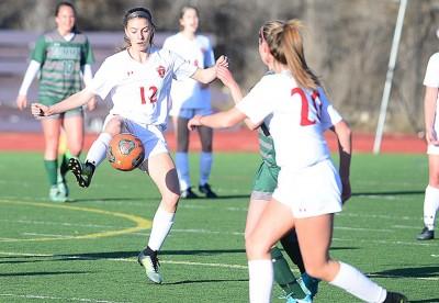 Sophie Leeson of Steamboat Sailor Soccer settles a soccer ball